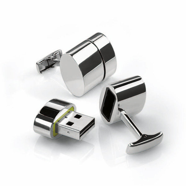 Polished Oval WiFi/2GD USB Cufflinks